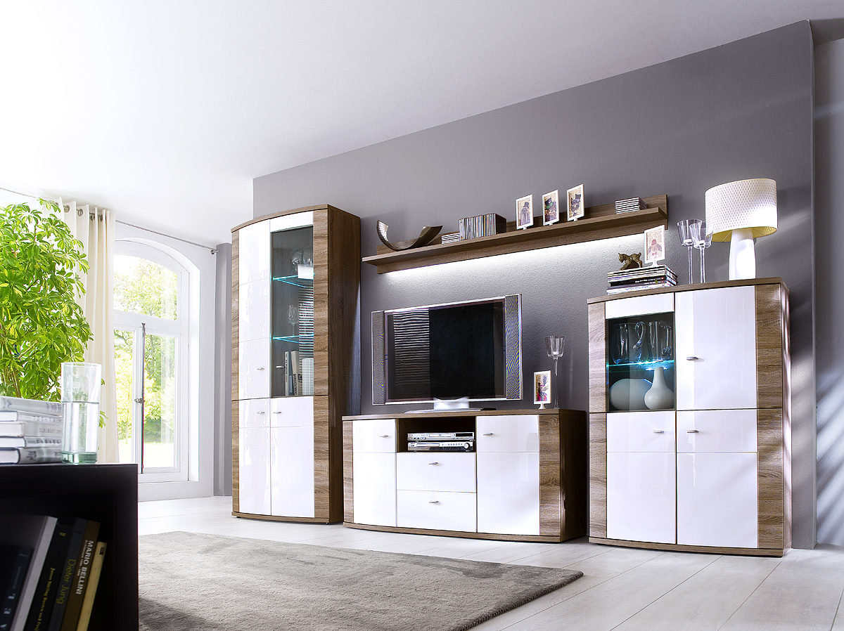 mca wohnwand sunday hochglanz weiss wohnw nde. Black Bedroom Furniture Sets. Home Design Ideas