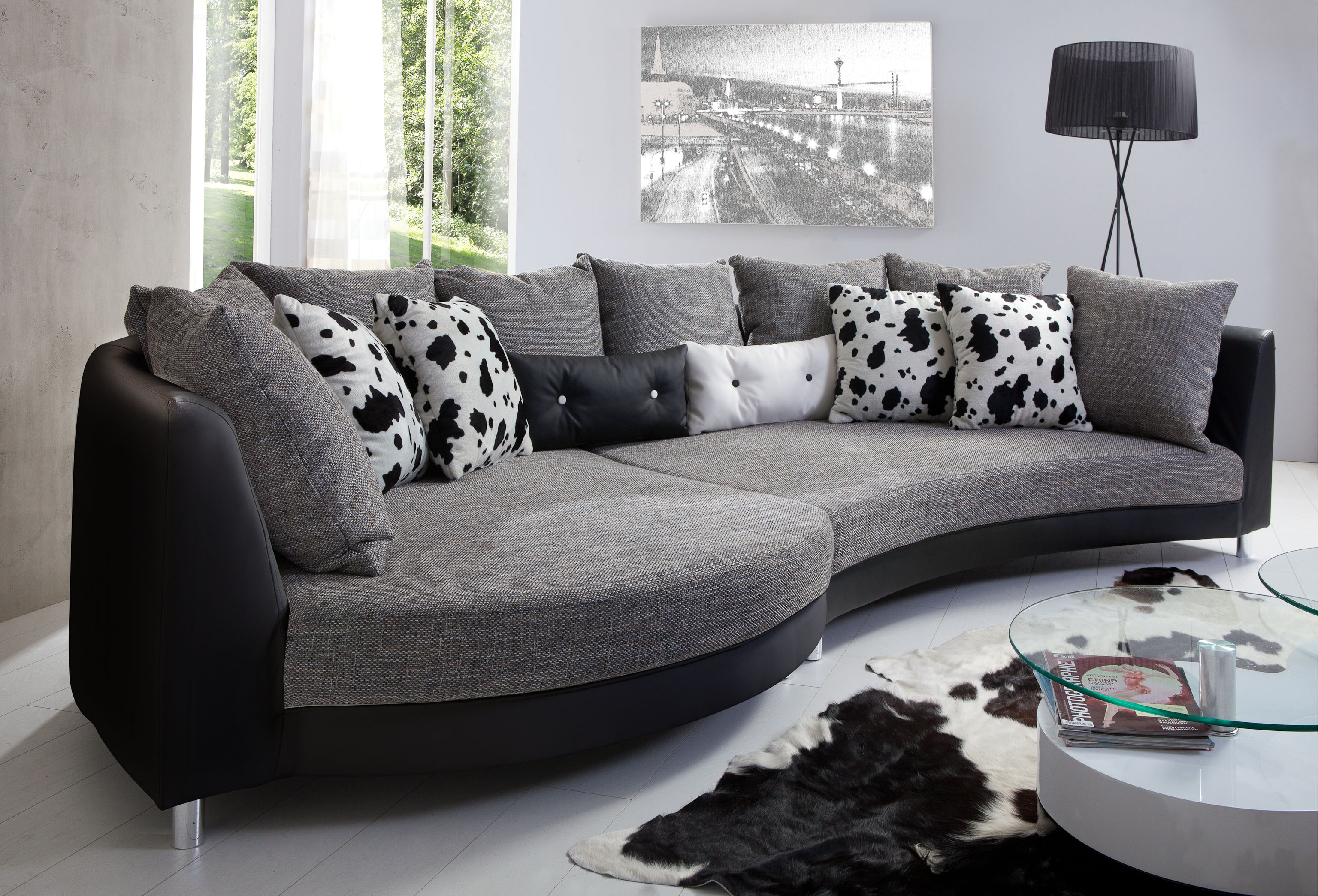 couch fuentello geschwungene form ecksofas sofas couches wohnzimmer m. Black Bedroom Furniture Sets. Home Design Ideas